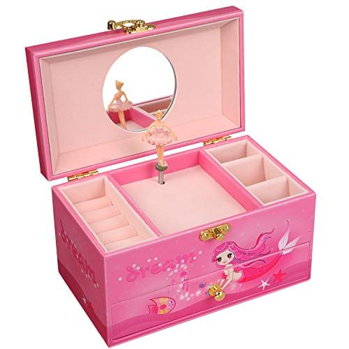 Songmics Ballerina Musical Jewelry Box For Little Girls Faux