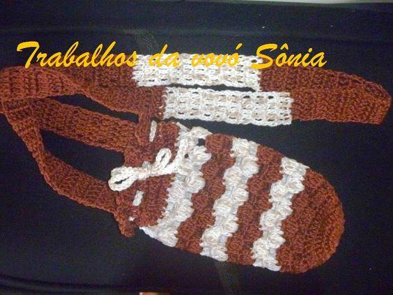 Trabalhos da vovó Sônia: Porta-garrafinha pequena - 2 modelos - crochê