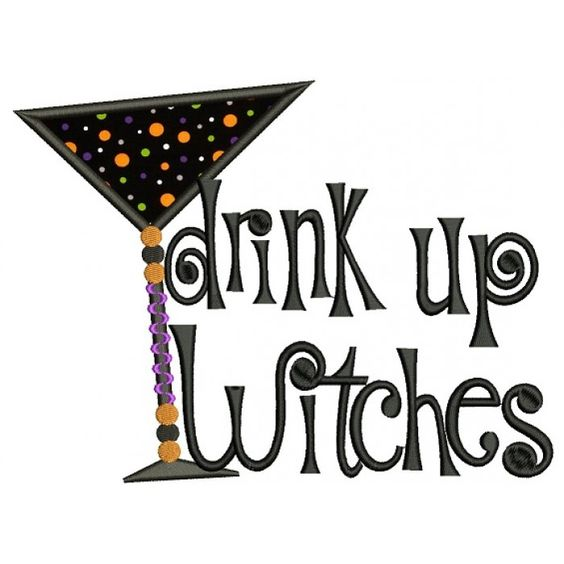 Drink up witches halloween applique machine embroidery