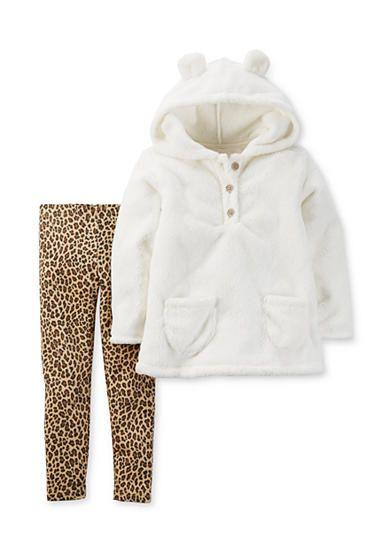 Carter's® 2-Piece Velboa Hooded Top and Legging Set Toddler Girls