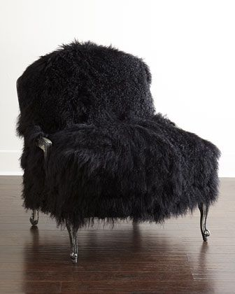 Worthen Noir Sheepskin Chair by Old Hickory Tannery at Horchow.