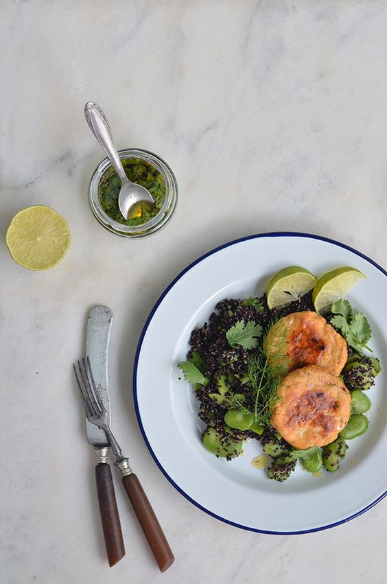 Dill and Curry Salmon Burgers with Fava Bean Quinoa Salad