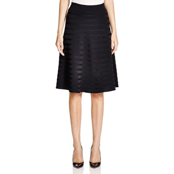 Calvin Klein Stripe Rib Skirt ($90) ❤ liked on Polyvore featuring skirts, striped skirt, high waisted leather skirt, calvin klein, black knee length skirt and black a line skirt