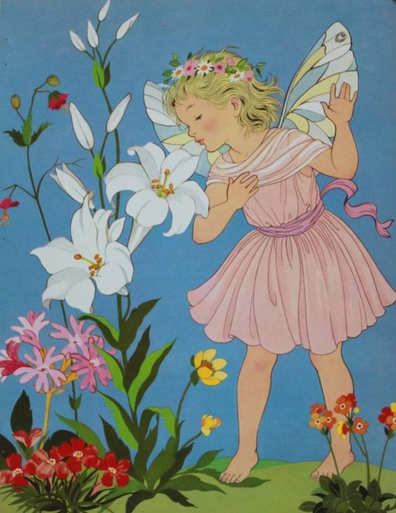 50s print, Fairy in Garden by Miki | Art, Art Prints | eBay!