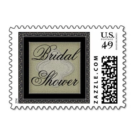 Vintage Quatrefoil Lace and Burlap Bridal Shower Stamps