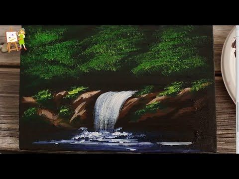 Acrylic Painting Easy Waterfall Landscape Painting Tutorial For Beginners Youtube Waterfall Paintings Landscape Painting Tutorial Waterfall Landscape