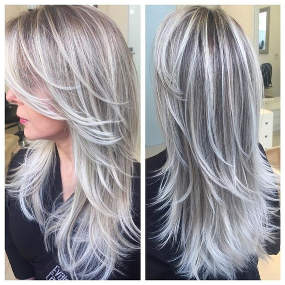 gray hair with brown lowlights - Google Search