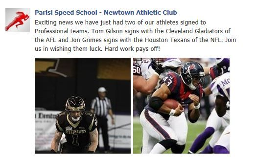 Congratulations to Tom Gilson who signed with the Cleveland Gladiators of the #AFL and Jon Grimes who signed with the Houston #Texans of the #NFL- trained by Parisi #Newtown Athletic Club. 12.20.2013