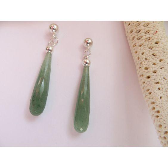 Green Aventurine earrings, Sterling Silver posts, Dangle studs,... ($75) ❤ liked on Polyvore featuring jewelry, earrings, inspiredby10, green teardrop earrings, teardrop earrings, stone stud earrings, green stud earrings and ball earrings