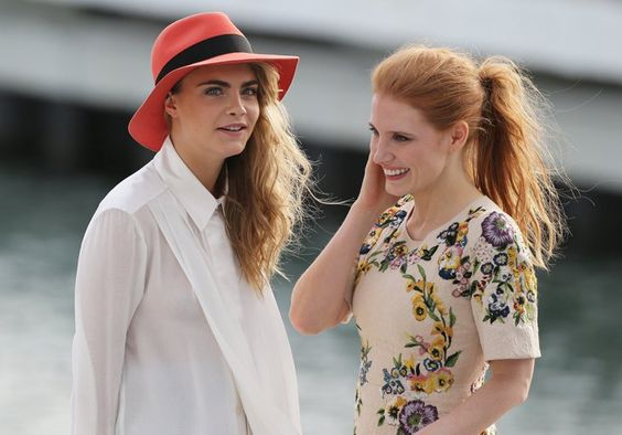 Pin for Later: All the Stars That Flocked to France For the Cannes Film Festival  Cara Delevingne and Jessica Chastain shared a cute moment on the set of Canal Plus, a French TV channel.