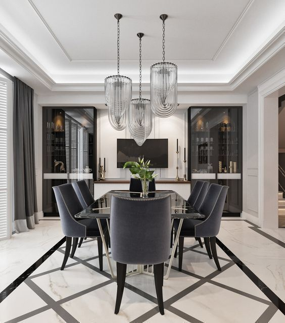 Black It S A Classic Dining Room Modern Dining Rooms Contemporary Dining Room Contemporary Dining Room Design Modern Black dining room design ideas