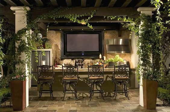outdoor kitchens flat screen tvs and kitchen ideas on pinterest. Black Bedroom Furniture Sets. Home Design Ideas