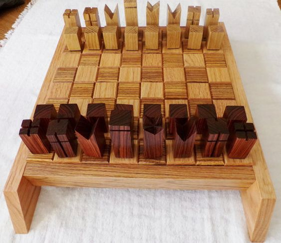 Modern Chess Set Handcrafted in Zebrawood, Kingwood, and Oak