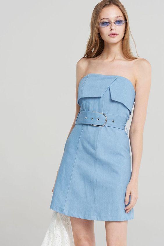 Rosalyn Denim Tank Belt Dress-Skyblue Discover the latest fashion trends online at storets.com #fashion  #denim #tankdress #belteddress #dress #storetsonme