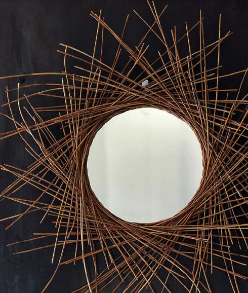 brass straw mirror