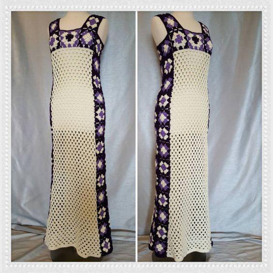 Venta mujer ganchillo abuela Plaza Hippie Maxi vestido Vintage