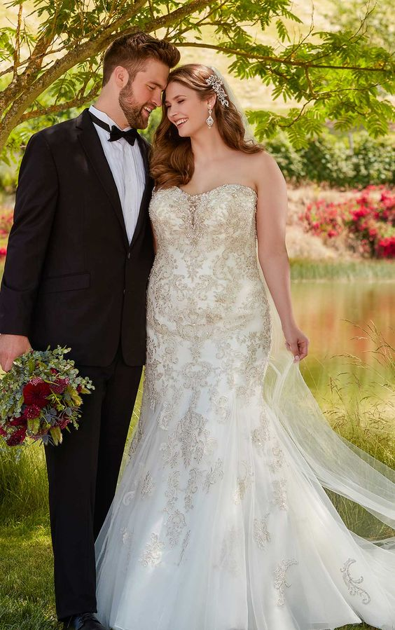 this plus size wedding dress is a sparkling example of bridal style