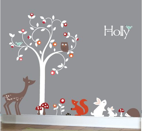 Nursery wall decals  Modern white swirl tree by couturedecals, $129.00