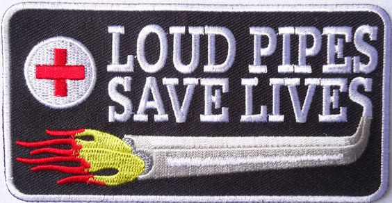 LOUD PIPES SAVE LIVES FLAMES EMROIDERED IRON ON BIKER PATCH
