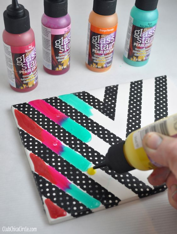 Rainbow glass stained chevron art tile tween craft ideas for Cool diy art projects