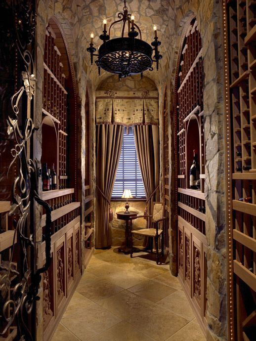Wine Cellar Old World Style With Wrought Iron Chandelier