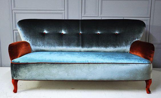 velvet gray & blue sofa