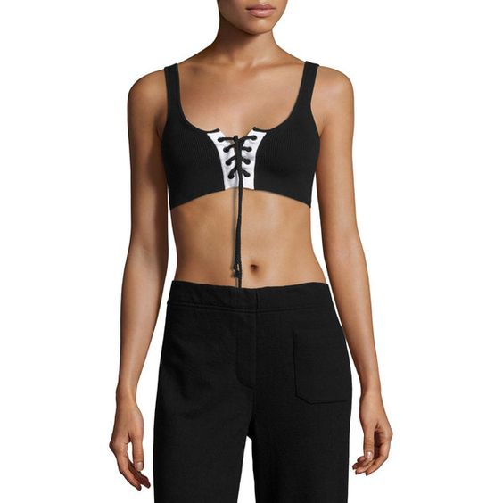 FENTY PUMA by Rihanna Ribbed Lace-Up Sports Bra ($150) ❤ liked on Polyvore featuring activewear, sports bras, black, puma sportswear, sweater pullover, puma pullover, puma activewear and puma sports bra