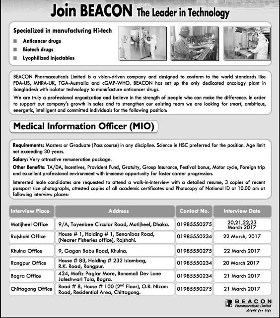 Medical Information Officer Beacon Pharmaceuticals Limited Job