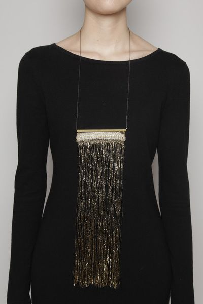 Justine Ashbee Tapestry Necklace: Necklace Seattle, Necklace Justine, Black Cotton, Black Gold