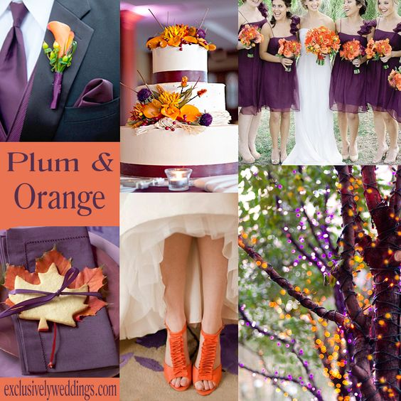 an orange color combination for your fall wedding wedding plum wedding colors and orange. Black Bedroom Furniture Sets. Home Design Ideas
