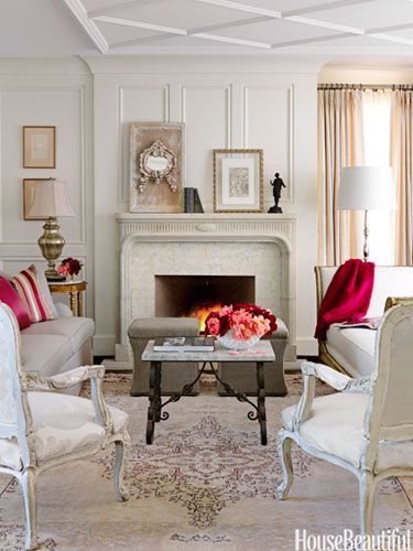pop of color hot pink in creamy living room