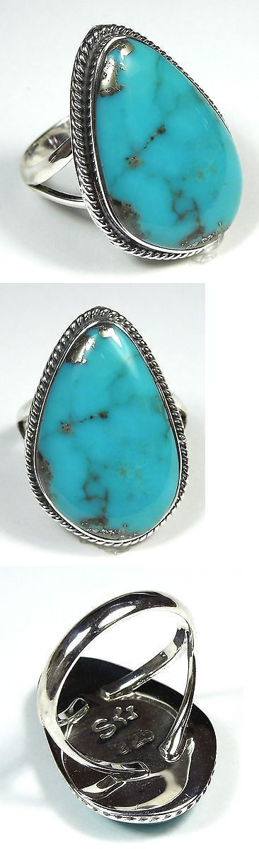 Rings 110666: Handcrafted Natural Kingman Turquoise 925 Sterling Silver Ring Size 9 BUY IT NOW ONLY: $69.0