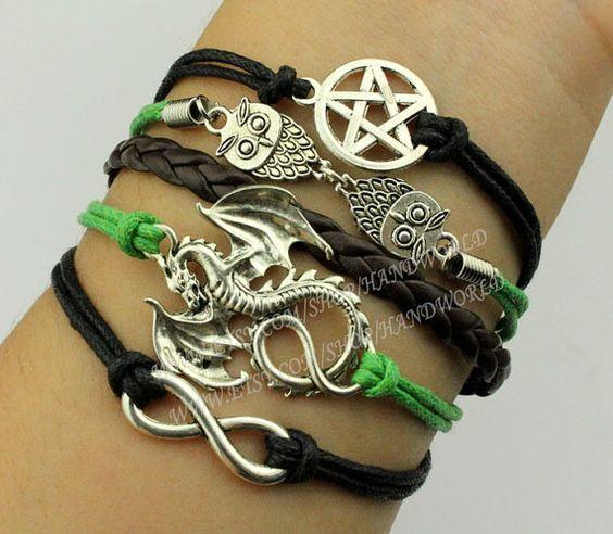 Pentagram / star Charm bracelet cute owl bracelet by handworld, $6.59