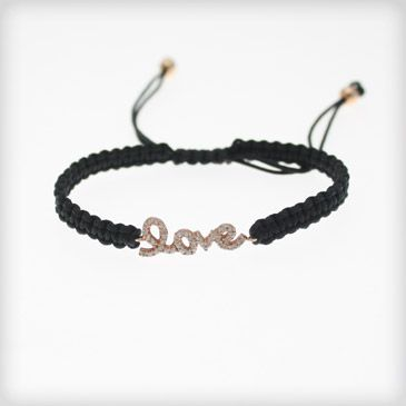 Evil Eye 18ct Rose Gold Plated LOVE Cord Bracelet at Cotton & Gems