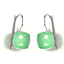 Natural Aqua Chalcedony Sterling Silver Earring