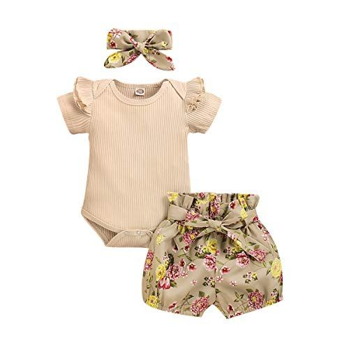 Newborn Baby Girls Ruffle Sleeve Romper Bodysuit Top+Floral Short Pants+Bow Headband 3Pcs Outfits Clothes