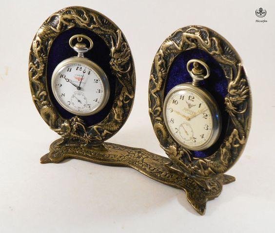 Wintage Double  Brass Pocket watch Stand by SpecialWoodwork