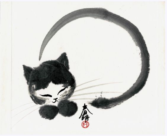 Cat And Japanese Calligraphy Such A Beautiful And Playful