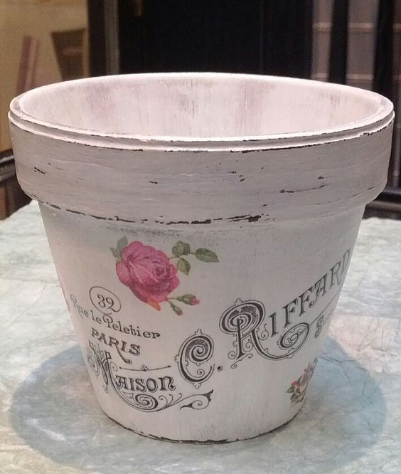 Decoupage and transfer flower pot Adorno Accesorios