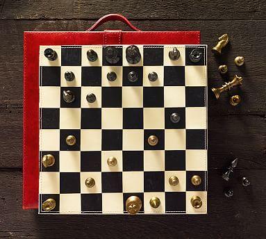 Saddle Red Leather Travel Chess Set #potterybarn