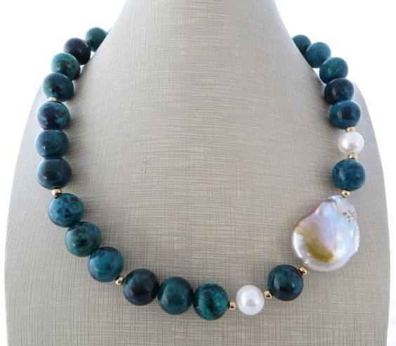 Collana pietre in crisocolla verde blu, girocollo perle barocche, gioielli artigianali, bijoux fatti a mano : Collane di sofiasbijoux