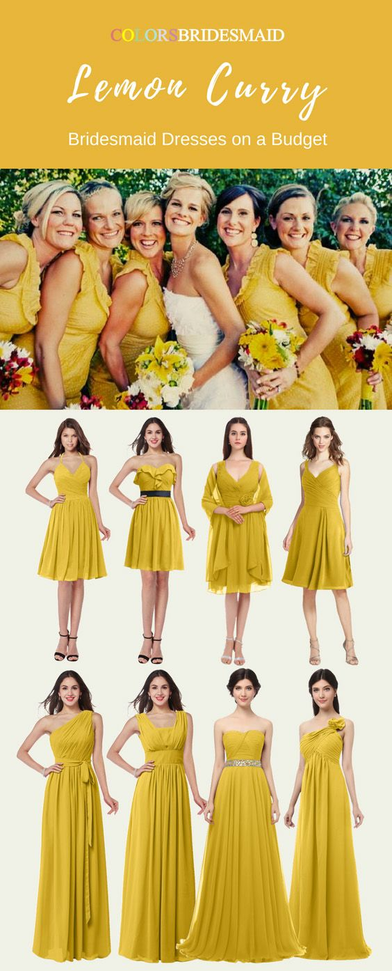 Bridesmaid Dresses In Lemon Curry Color With Stunning Styles Yellow Bridesmaid Dresses Fall Color Dresses Yellow Wedding Dress