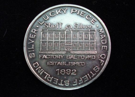 """1929 Sterling Silver STIEFF CO  """"LUCKY PIECE""""  TOKEN Engraved Mrs R Hicks Visit"""