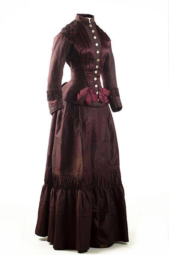 Plum silk taffeta two-piece dress, 1883