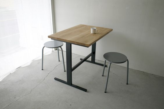 249 | 01_Custom made furniture Cafe table : W850 D60 H700 Solid ash oil finish / Steel hardening melamine paint