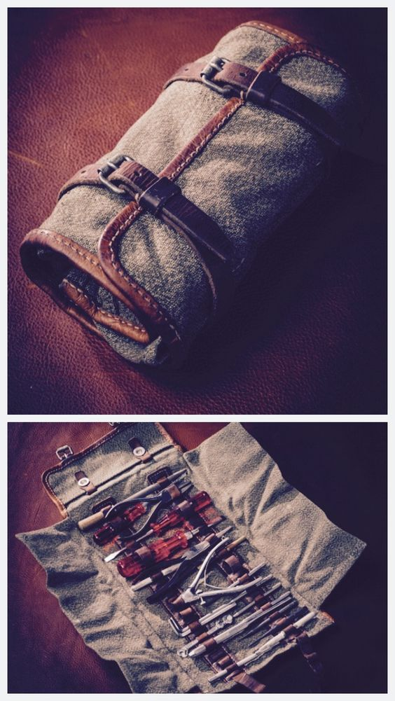 Swiss Army vintage canvas tool roll