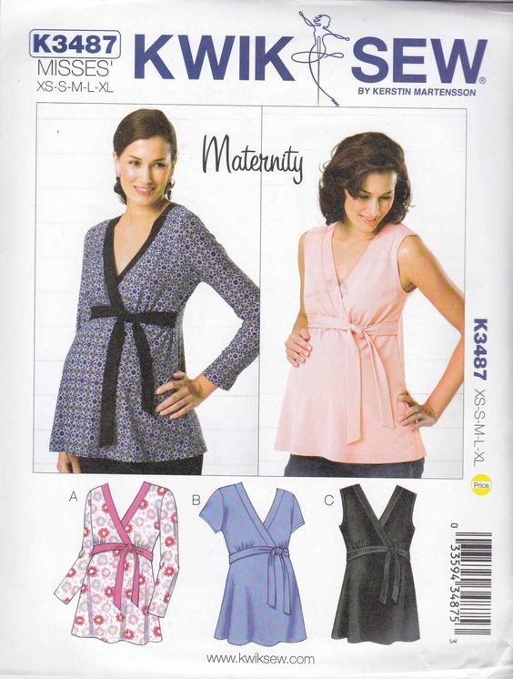 Kwik Sew Sewing Pattern 3487 Maternity Misses Size 6-22 Pullover ...