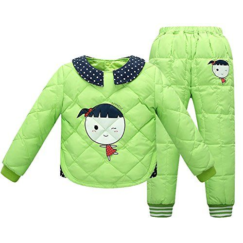 2pcs Girls Winter Warm Outerwear Down Coats Snow Pants Outfit Set