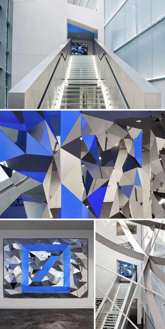 cool anamorphic installation, mirror with Deutsche Bank logo, designed by Art+Com, cool corporate sculpture