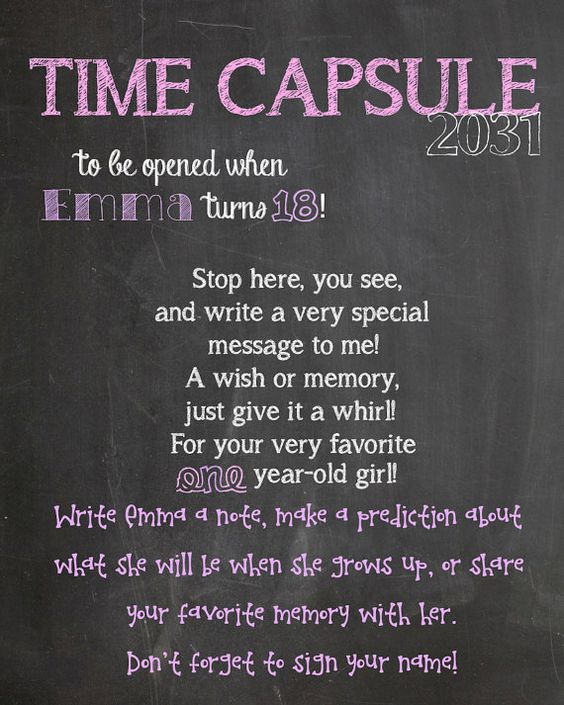 First Birthday Time Capsule Sign- Birthday Decoration or Photography Prop on Etsy, $3.00